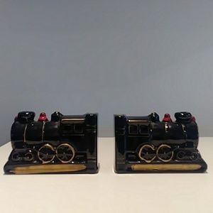 Vintage MCM Japan ceramic train bookends